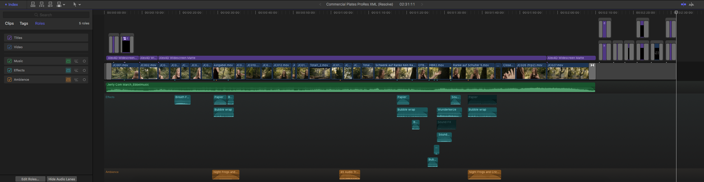 "FCP X Timeline for ""VINES"""