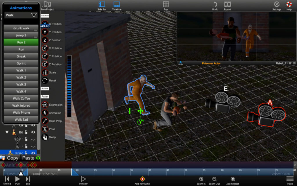 User Interface of ShotPro PreVis Software